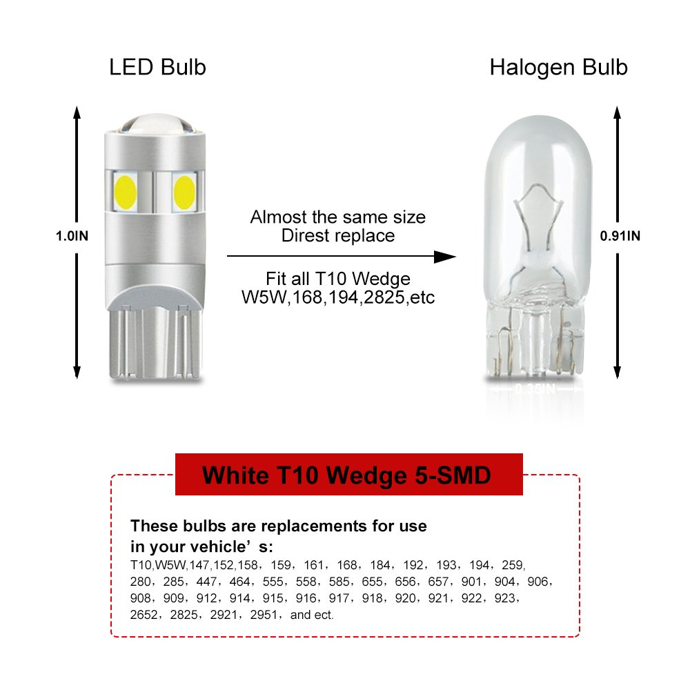 T10 Led Redinterior Lights For W5w 194 168 Wedge 5 12 Volt Flasher Circuit 555 Http Exlectronixblogspotcom 2012 Smd 3030 32w 12v Extremely Bright License Plate Light Dome Signal Clearance