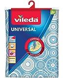 Vileda Universal - Funda de planchar , funda de 2 capas adaptable a todos los tamaños, capa de algodón y relleno de espuma, medidas: 130 x 45 cm, color azul