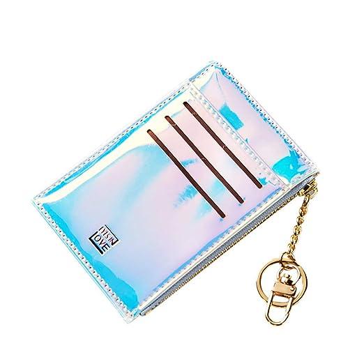 Slim Minimalist Keychain Wallet Front Pocket Wallets Credit Card Holder Key  Ring Card Case for Women Girls