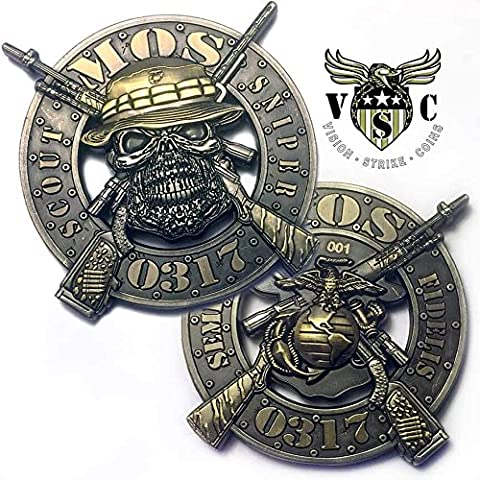 USMC 0317 Scout Sniper Marine Corps MOS Coin Challenge Coin Double Sided 4 Inch Pewter Lead Free - Double Sided Battle Axe