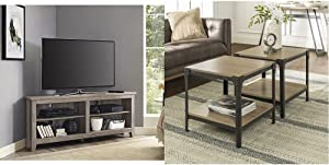 Walker Edison Milton Classic 2 Shelf Corner TV Stand for TVs up to 65 Inches, 58 Inch, Driftwood & Declan Declan Urban Industrial Angle Iron and Wood Accent Tables, Set of 2, Driftwood