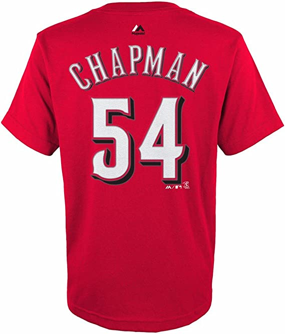 Majestic Aroldis Chapman Cincinnati Reds MLB Youth's Red Player Name & Number Jersey T-Shirt