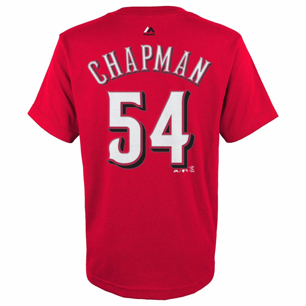 Amazon.com   Majestic Aroldis Chapman Cincinnati Reds MLB Youth s Red  Player Name   Number Jersey T-Shirt   Sports   Outdoors caf6ae5cc67