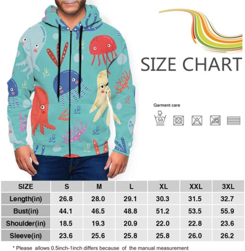 Long Sleeve Hoodie Print Colorful Pattern Octopus Corals On Jacket Zipper Coat Fashion Mens Sweatshirt Full-Zip S-3xl