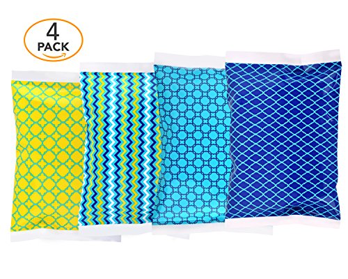 Ice Pack for Lunch Boxes - 4 Reusable Packs - Classic Prints