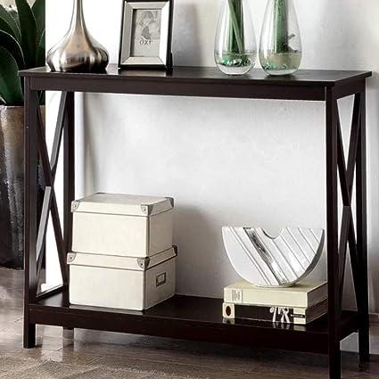 Amazon.com: Very Narrow Console Table Wood Shelf Espresso X-Shaped 4 ...