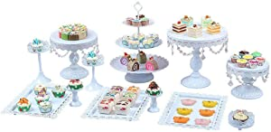 Cake Stands, 12 pcs Metal Crystal Cake Holder Cupcake Stands with Pendants and Beads Cake Stand Dessert, Wedding Birthday Dessert Cupcake Pedestal Display, White USA STOCK (12, white)