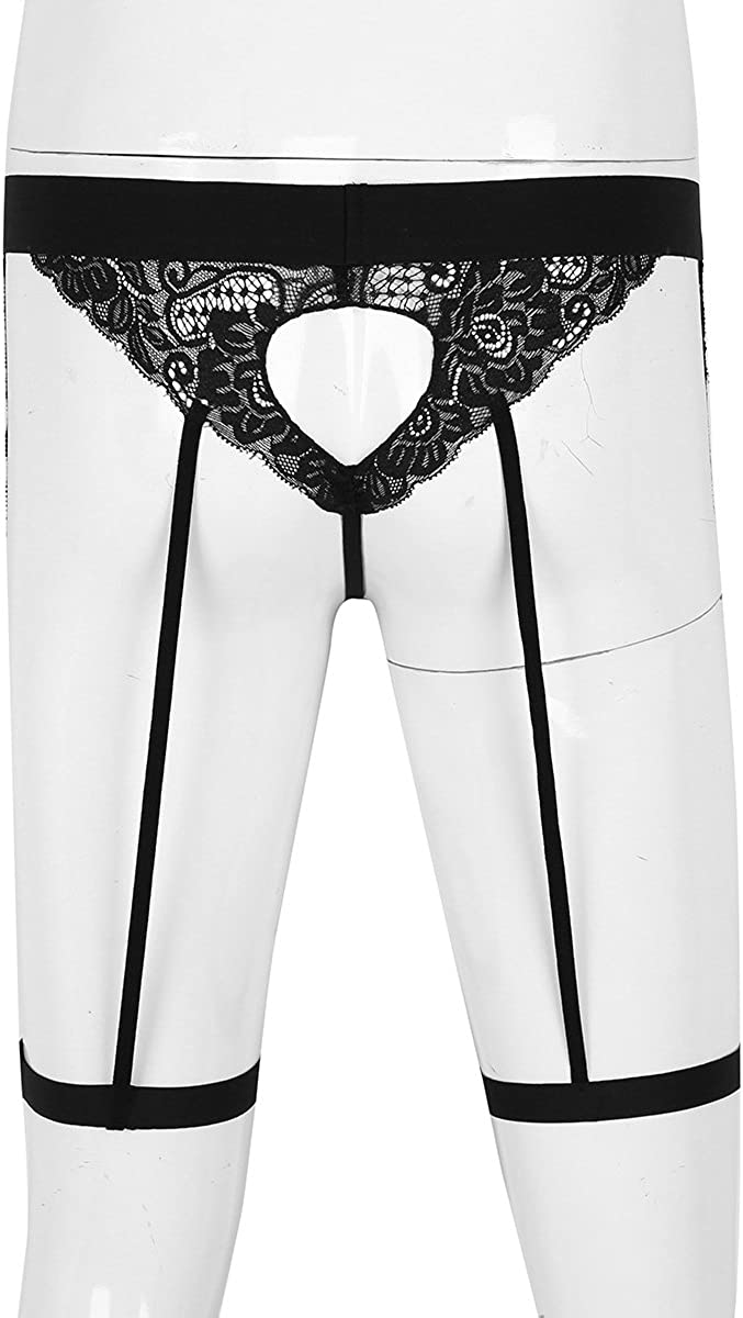 YiZYiF Mens Lingerie Floral Lace Jockstraps Stretch G-String Thongs Underwear with Garter Band