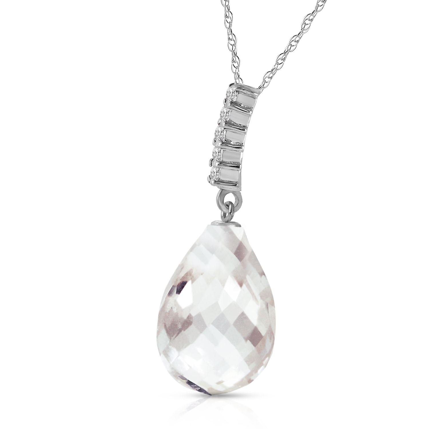 ALARRI 7.18 Carat 14K Solid White Gold Necklace Diamond Briolette Drop White Topaz with 20 Inch Chain Length