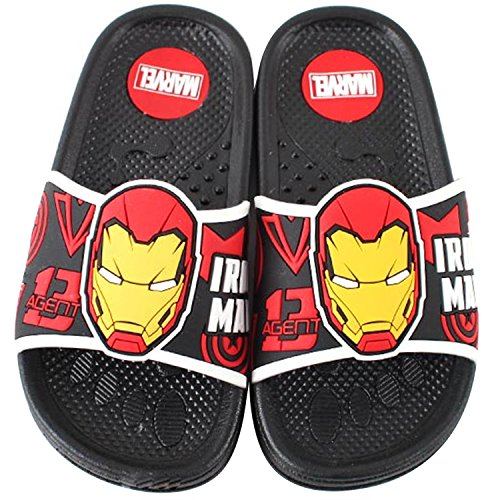 Joah Store Boys Avengers Iron Man Slide Sandals Black Cushion Anti-Slip Multi Purpose Casual Shoes (13 M US Little Kid, Iron Man)