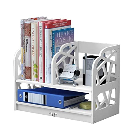 White Bookshelf 2 Shelf Openwork Desk Organizer DIY Wooden And Plastic Desktop Book