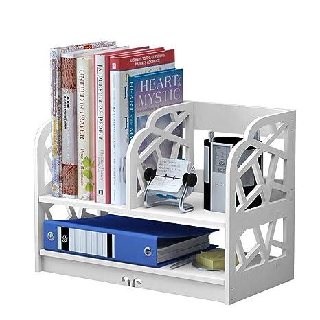 White Bookshelf 2 Shelf Openwork Desk Organizer DIY Wooden And Plastic Desktop Book