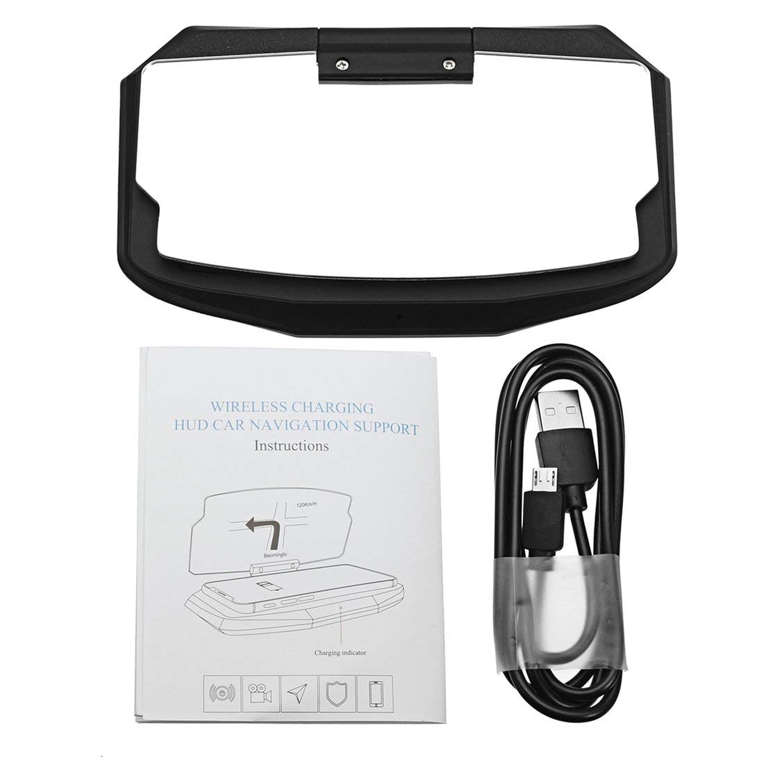 Swiftswan Qi Wireless-Ladegerät Auto HUD Head Up Navigation Display Halter Ladestation 180 ° Rotation LED-Anzeige Licht Shockproof Pad