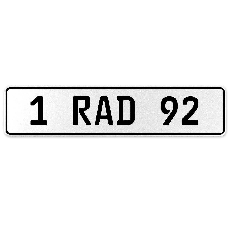 Vintage Parts 554095 1 RAD 92 White Stamped Aluminum European License Plate