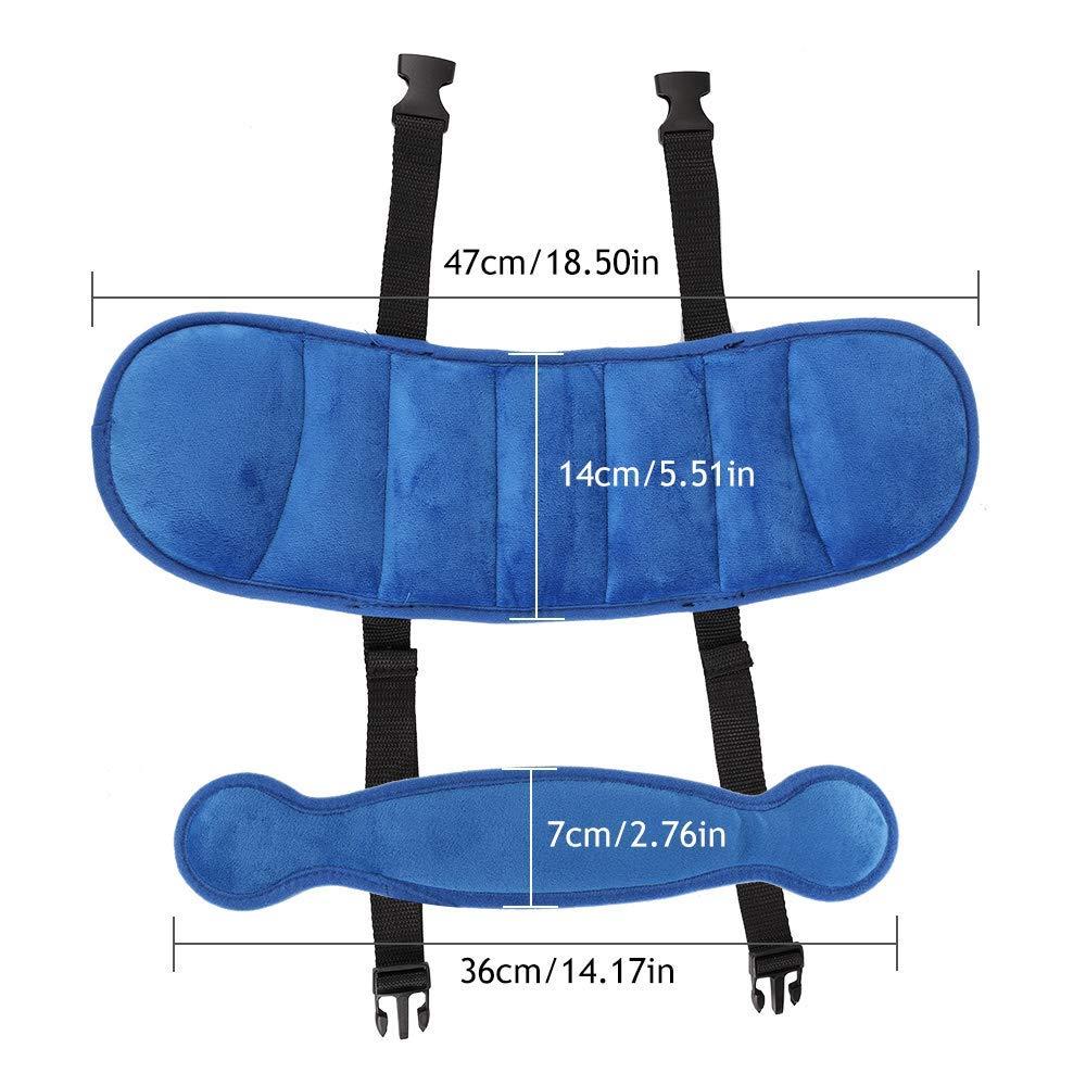 Localizzatore di sicurezza per il collo e la sicurezza del bambino regolabili MGDAM Cinghia di supporto per testa e collo del seggiolino auto per bambini blu
