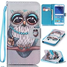 Samsung Galaxy S6 Case, Kmety Grey Owl PU Synthetic Leather Wristlet Magnet Snap Wallet [Credit Card/Cash Slots] Kickstand Flip Case Cover for Samsung Galaxy S6