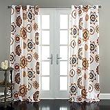 "Lush Decor Adrianne Window Curtain Panel (Set of 2), 84 x 52"", White/Tangerine"