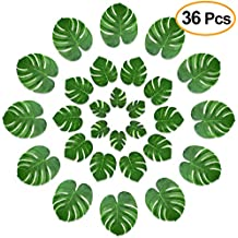 KUUQA 36 Pcs Tropical Palm Leaves Party Decor Artificial Green Monstera Plant Leaf Leaves for Hawaiian Luau Aloha Party Jungle Theme BBQ Birthday Weedding Party Table Decorations Supplies 3 Sizes