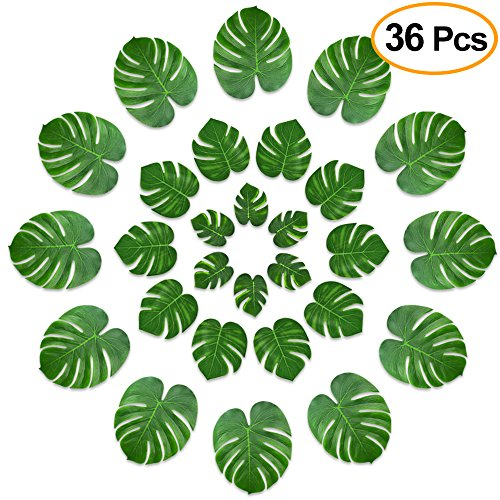 Theme Green - KUUQA 36 Pcs Tropical Palm Leaves Party Decor Artificial Green Monstera Plant Leaf Leaves for Hawaiian Luau Aloha Party Jungle Theme BBQ Birthday Weedding Party Table Decorations Supplies 3 Sizes
