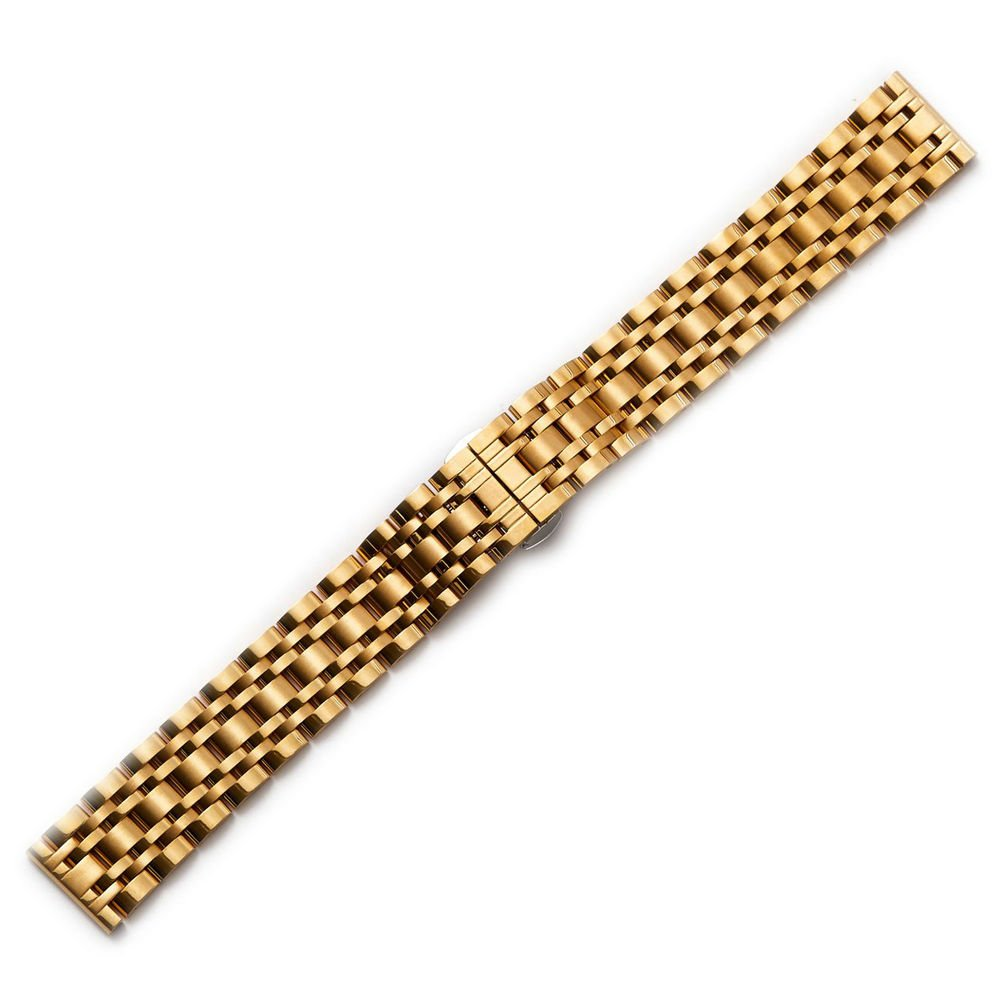 ステンレススチールブレスレット時計バンドストラップストレートエンド光沢メタルリンク 26mm ゴールド 26mm|ゴールド ゴールド 26mm B077S7KFDW
