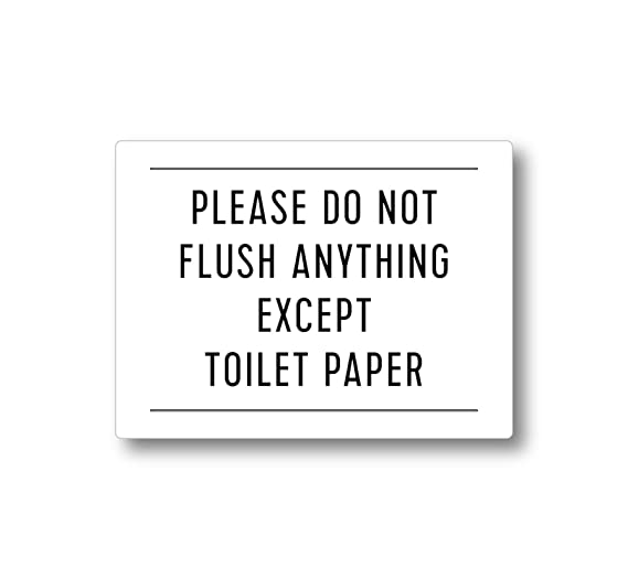 Amazon.com: Please Do Not Flush Anything Except Toilet Paper Sign (Black 4x3