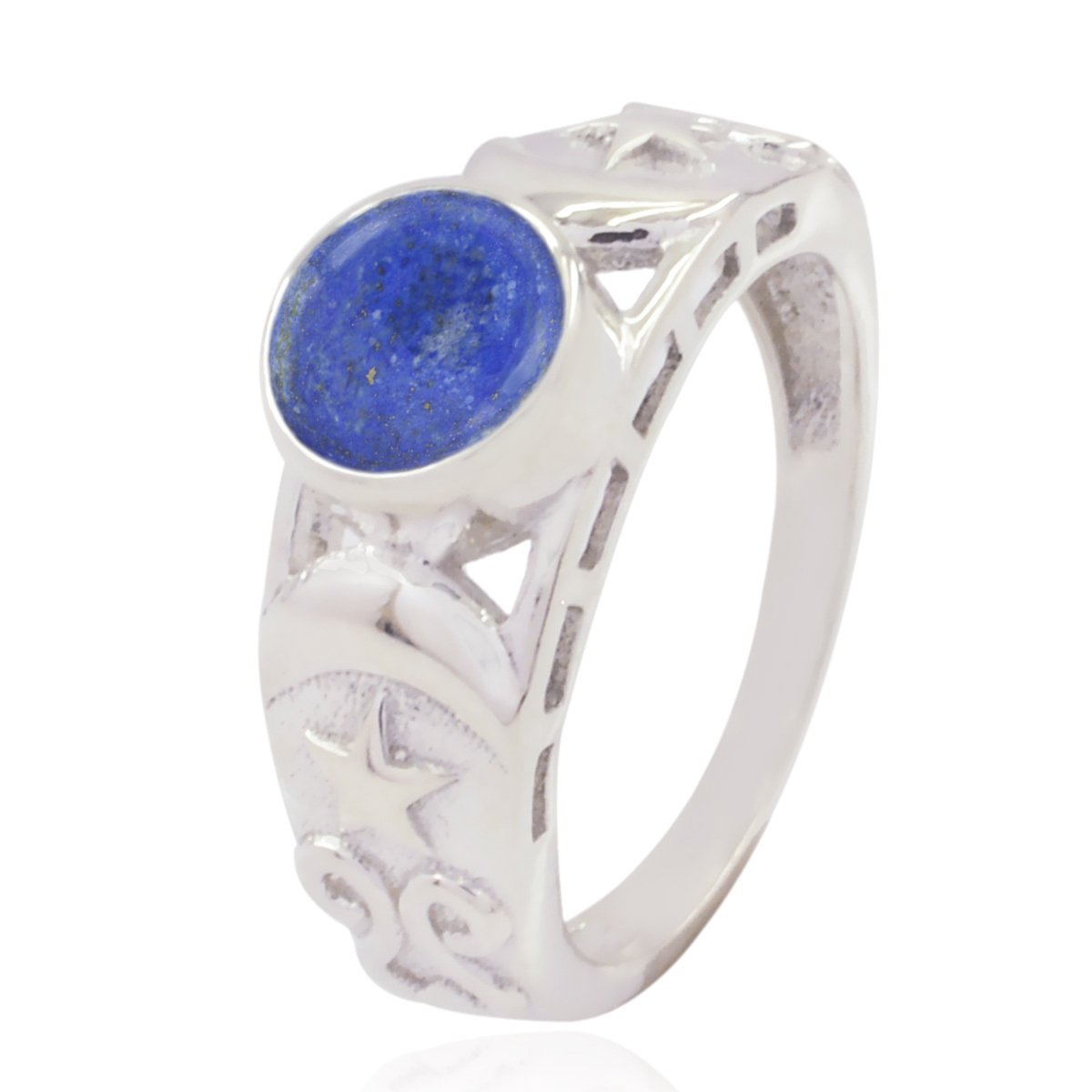Faishon Jewelry Nice Item Gift for Friendship Day Great Ring 925 Sterling Silver Blue Lapis Lazuli Good Gemstones Ring Good Gemstones Round cabochon Lapis Lazuli Rings