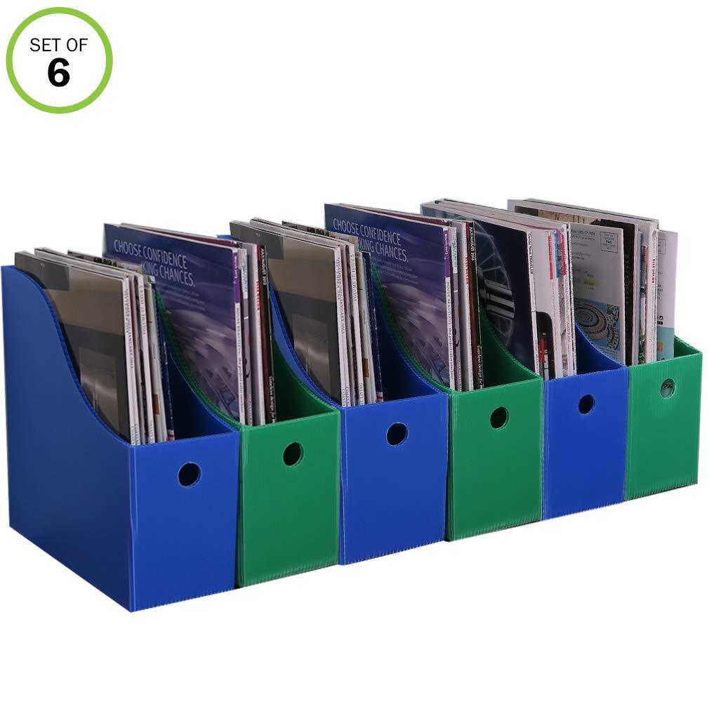 Evelots Magazine File Holder-New Heavy Duty Plastic-Organizer-4 Inch Wide-Set/6