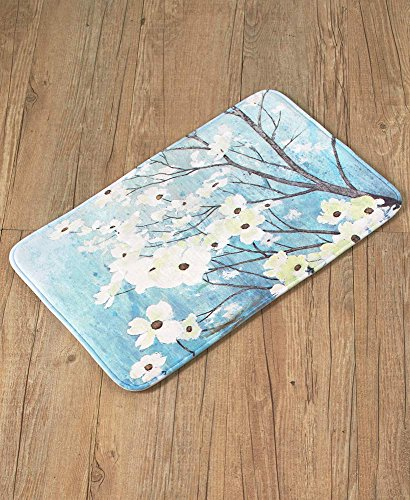 The Lakeside Collection Dogwood Blossoms Memory Foam Rug
