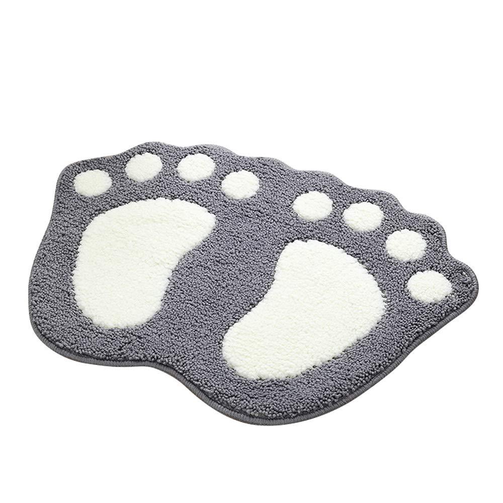 Big Feet Bath Toilet Mat Area Rugs Carpet Doormat Floor Mat Absorbent Mats Bathroom Rugs Bedroom Living Room Kitchen Non-slip Foot Pad Rug (16''x24'', Gray)