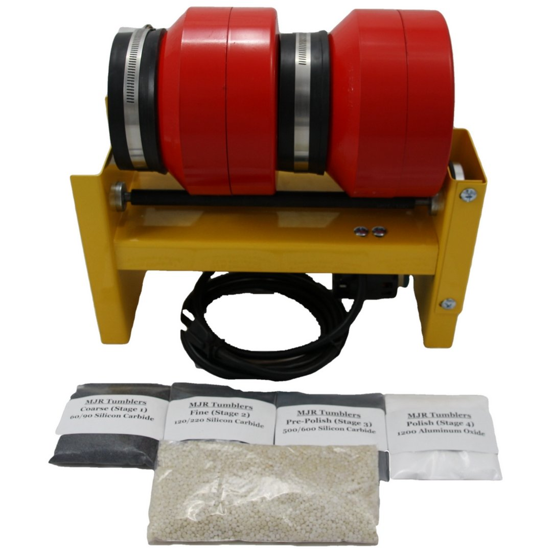 12 lb Dual Barrel Rock Tumbler w Grit Kit, Awarded Best HIGH END Tumbler for 2019, Made in The USA