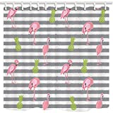 Pink Green Stripe Shower Curtain GoHeBe Cartoon Shower Curtain Flamingo Pink Green Pineapple Gray Stripe Decor Art Mildew Resistant Polyester Fabric Waterproof Bathroom Shower Curtain Set With Hooks 71X71in
