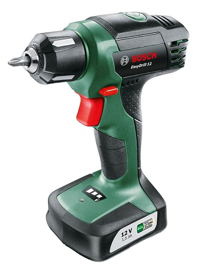 Bosch EasyDrill 12 - Taladro atornillador a batería (12 V, con batería integrada, Cargador, Punta de destornillador)
