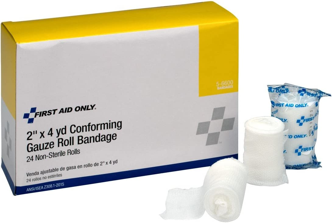 First Aid Only 5-6600 Stretch Gauze Bandage, 4-Yard Stretched Length x 2-Inch Width (Box of 24): Industrial & Scientific