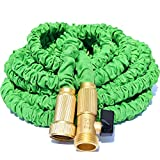 Riemex 100ft Green Expandable Garden Water Hose-TRIPLE LATEX-TOP QUALITY- Brass Fittings Connectors, Flexible - for all Watering Needs (100 FT, Green)