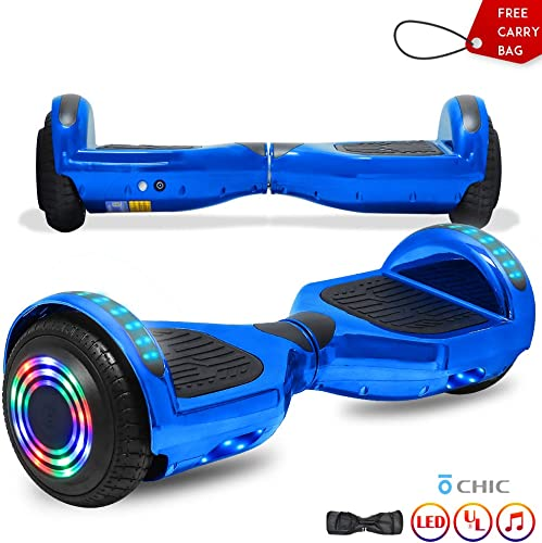 CHO POWER SPORTS 6.5 Wheels Hoverboard Safety Certified Hover Board Electric Self Balancing Scooter with Built in Speaker Flashing LED Lights Wheels