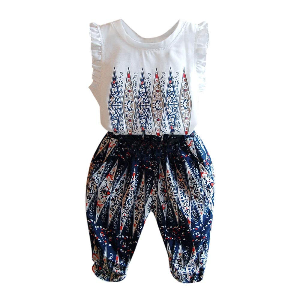 Clothful  for 0-6 Years Old Kids Outfits, Children's National Wind Print top Vest + Pants Two-Piece Suit White