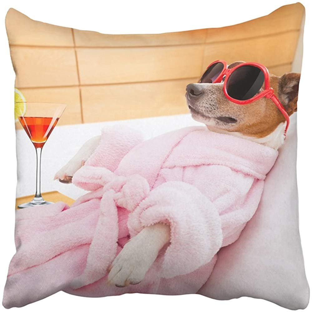 Throw Pillow Cover Polyester 18X18 Inches Jack Russell Dog Relaxing And Lying In Spa Wellness Center Wearing Bathrobe And Funny Decorative Cushion Pillow Case Square Two Sides Print For Home