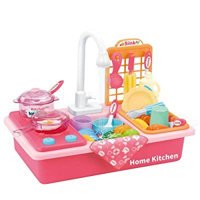Pretend Kitchen Sink Toys | Children Washing Dishes Toy Sink Playset with Running Water Dishwasher and Cutting Toys for Kids Role Play (Pink): Kitchen & Dining