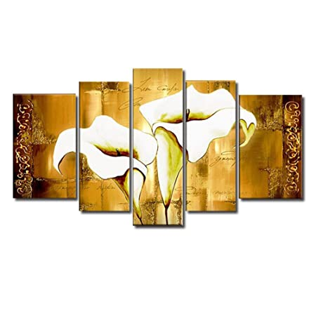 Splendour Modern Golden-White Calla Lily Fashion Flower 5 Panels ...