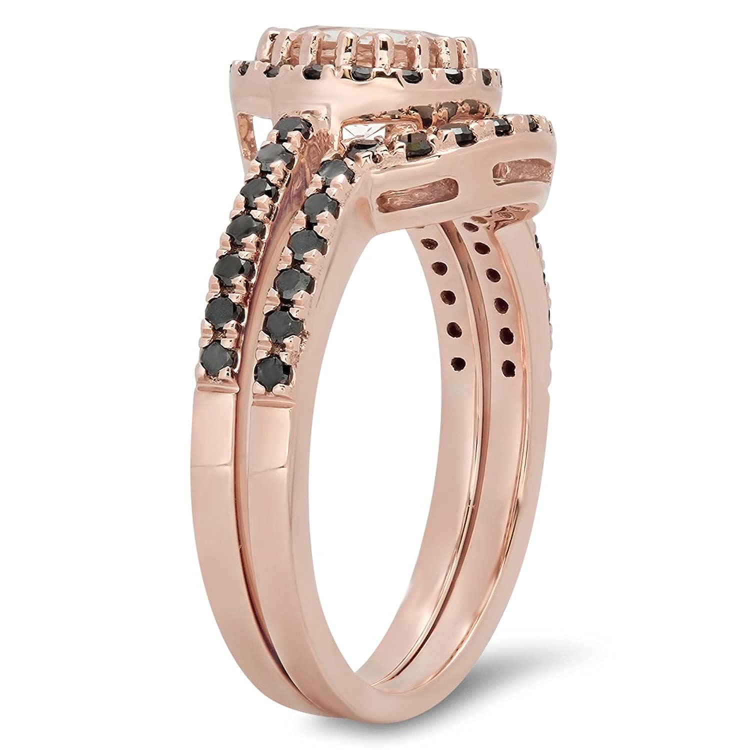 14k rose gold round morganite black diamond la s