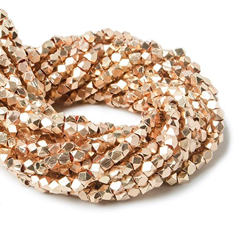 2mm Rose Gold Plated Copper Shiny Faceted Nugget Beads 8 inch 93 Pieces