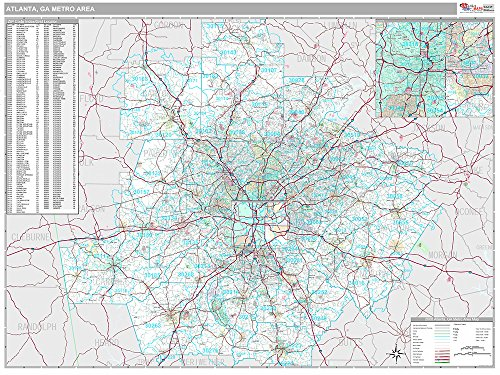 Atlanta, GA Metro Area Wall Map (Premium Style, Laminated, 48x64 - Atlanta Styles Hot