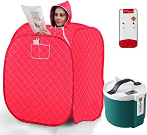 NATUREACT Personal Home Steam Sauna Tent,Portable Steam Sauna Spa Set, 2L Steamer with Remote Control and 9 Files Temperature Adjustment, Home Personal Spa Indoor Body Slimming Therapy
