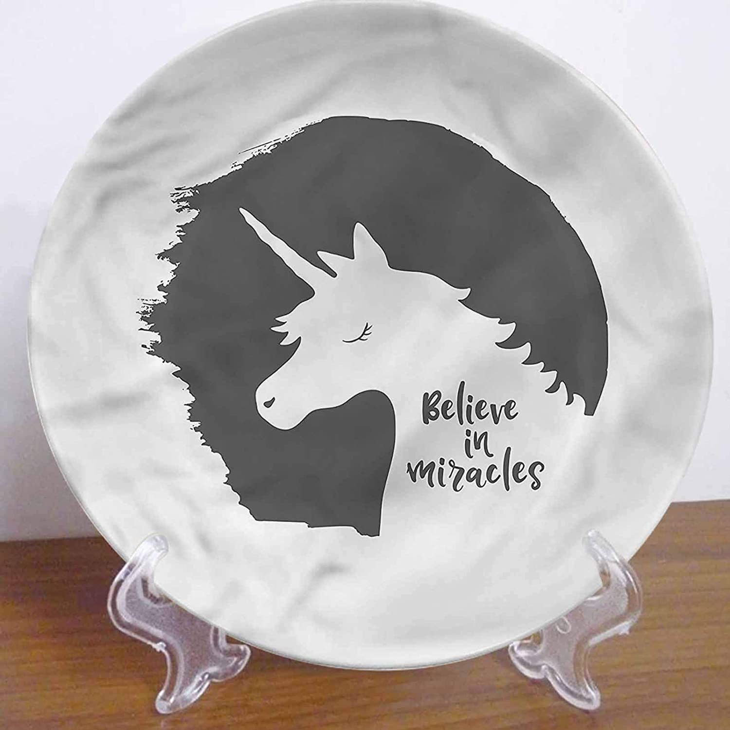 LCGGDB 8 Inch Quote Pattern Ceramic Decorative Plate,Believe in Miracles Phrase Dinner Plate Decor Accessory for Dining, Parties, Wedding