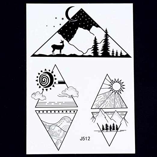 Handaxian 3pcsBody Historia del Arte Indio tótem Brazo Negro Retro Etiqueta engomada del Tatuaje Pictograma: Amazon.es: Hogar