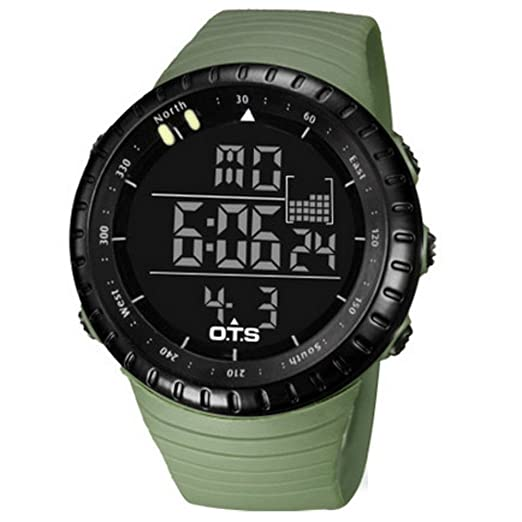 Hombre Relojes deportivos de exterior,50m resistente al agua Relojes digitales Botón grande Luminoso Calendario Piscina Multifunción Estudiante Ocio Reloj ...