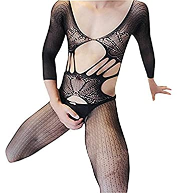 f9e9cb5400a HIMEALAVO Men Bodysuit Sexy Thin Elastic Bodystockings Underwear Body  Stocking  Amazon.co.uk  Clothing