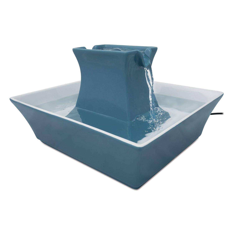 Drinkwell Stoneware Pagoda Ceramic Water Fountain 2 litresHimalayan bluee