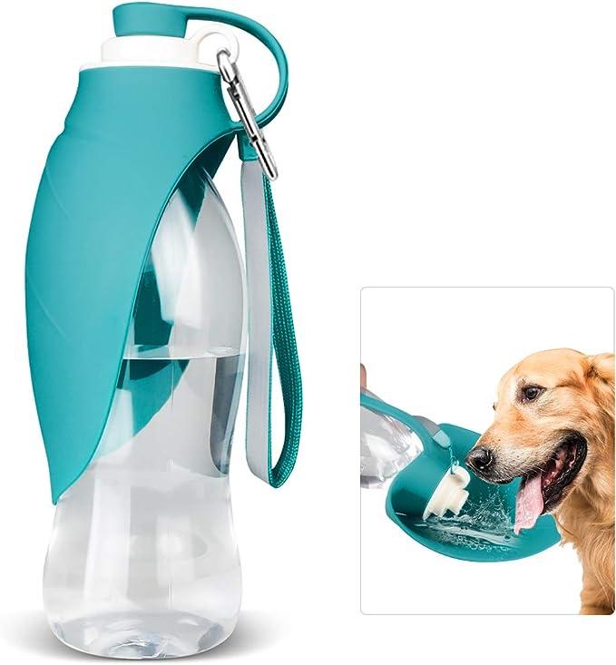 PLUS PO Dog Water Bottle Pet Water Bottles Pet Outdoor Travel Water Dispenser Dog Walking Accessories Dog Water Bottle With Bowl Dog Travel Accessories blue