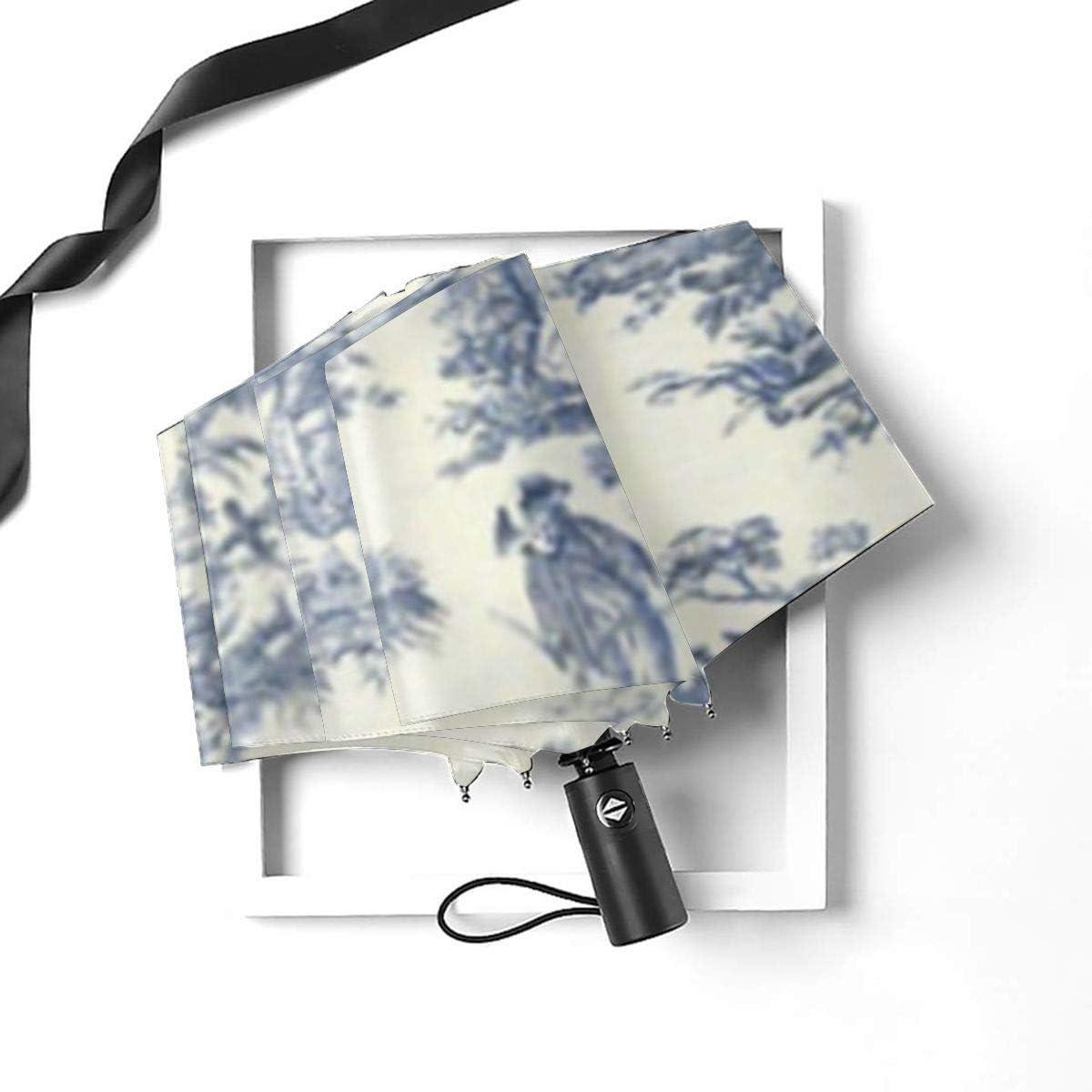 Toile De Jouy Wallpaper Umbrella Compact Rain/&Wind Repellent Umbrellas Sun Protection With Anti UV Coating Travel Auto Folding Umbrella